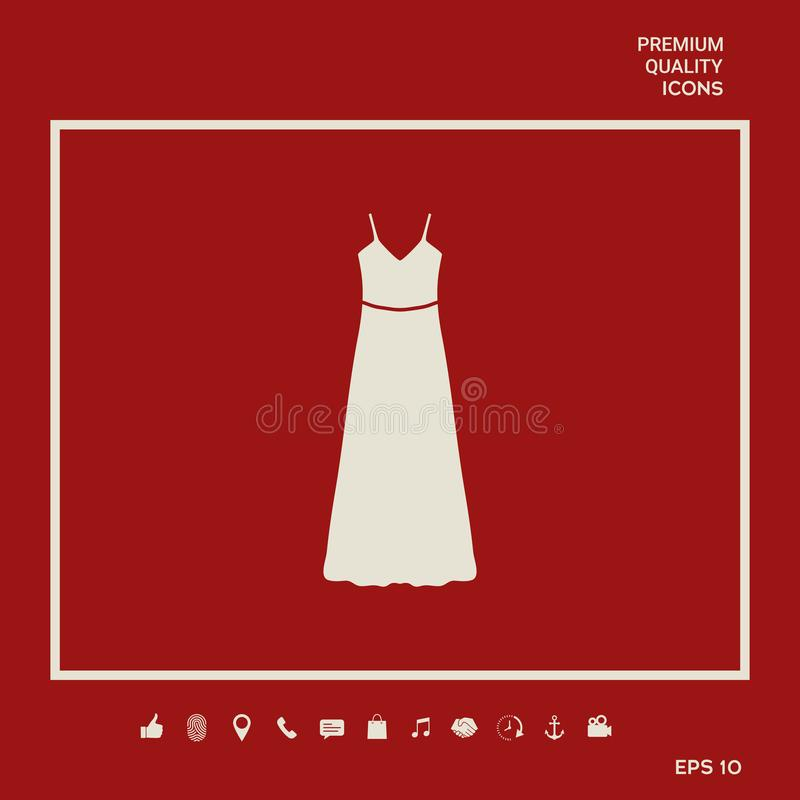 Long Dress, Evening dress or sundress with belt , the silhouette. Menu item in the web design stock illustration
