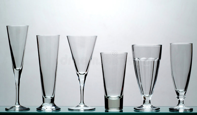 Long drink glasses stock image