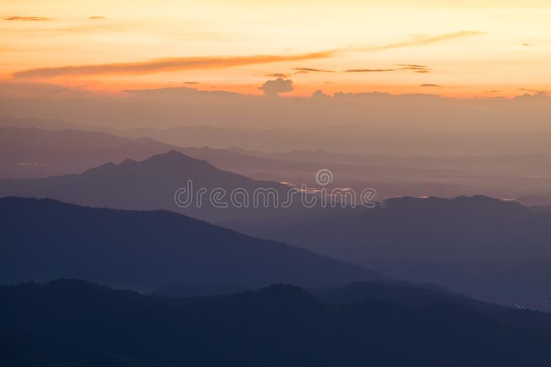 Long explosure shot, Beautiful sunset scene at Phu chi fah Chiangrai Thailand I. Long explosure shot, Beautiful sunset scene at  Phu chi fah Chiangrai Thailand stock image