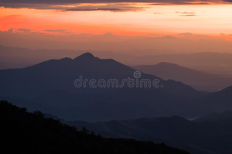 Long explosure shot, Beautiful sunset scene at Phu chi fah Chiangrai Thailand I. Long explosure shot, Beautiful sunset scene at  Phu chi fah Chiangrai Thailand stock photos