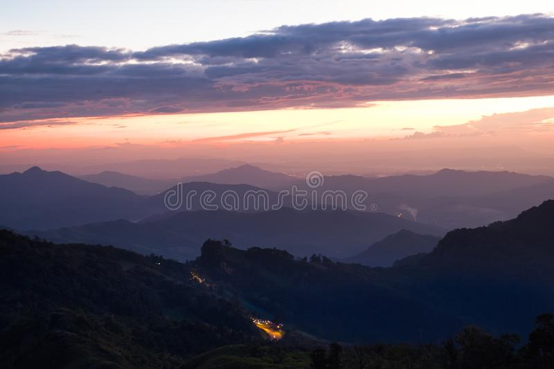 Long explosure shot, Beautiful sunset scene at Phu chi fah Chiangrai Thailand I. Long explosure shot, Beautiful sunset scene at  Phu chi fah Chiangrai Thailand stock photo
