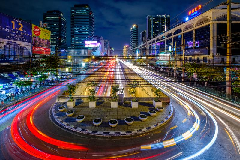Long exposer Aerial view night traffic road with car light movement royalty free stock photos