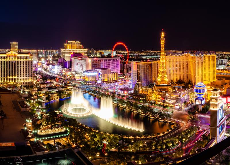 Long exposure of the Bellagio Fountains royalty free stock photography
