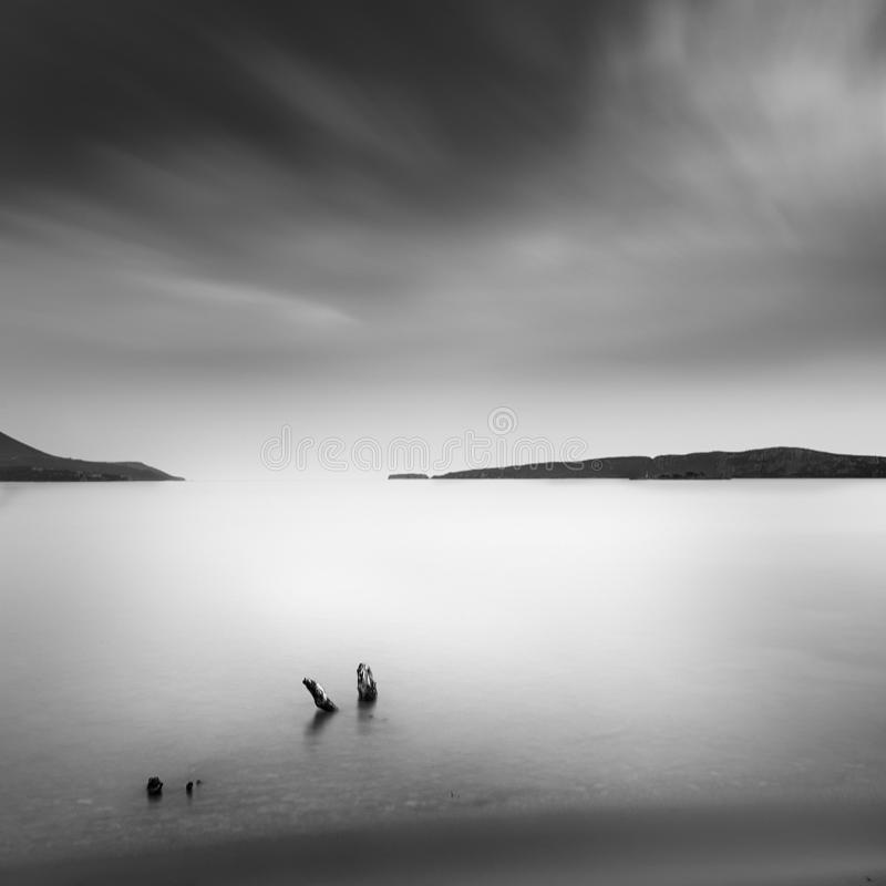 Minimal seascape from the beach stock photography