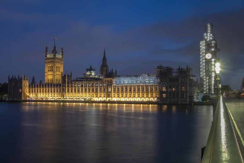 Long exposure blue hour shot of Westminster Palace London. With beautiful reflections in River Thames royalty free stock images