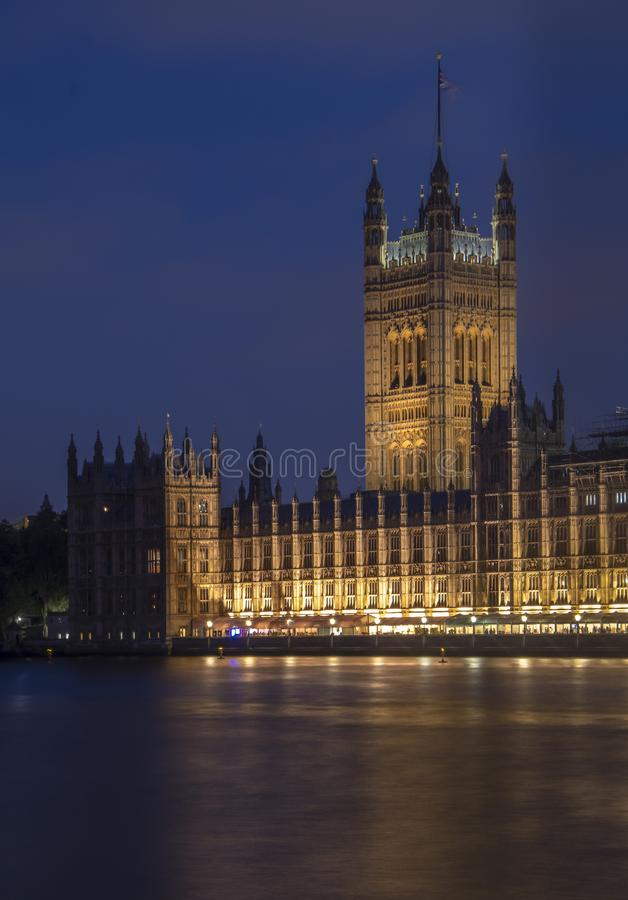 Long exposure blue hour shot of Westminster Palace London. With beautiful reflections in River Thames stock photography