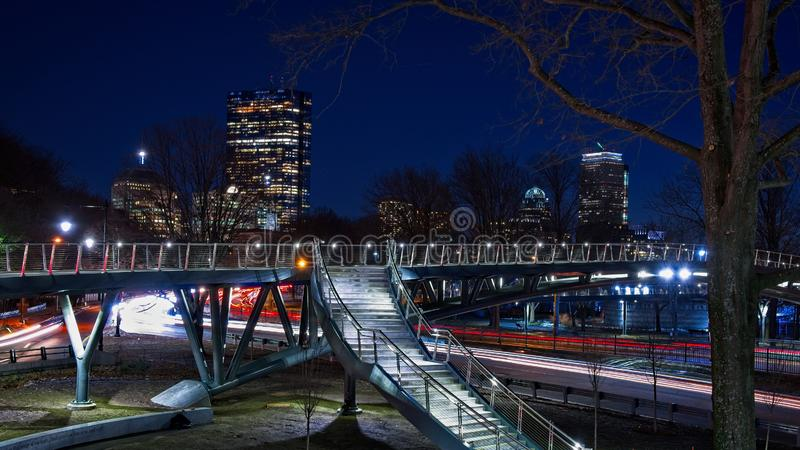 Long exposure of Boston skyline at night overlooking storrow drive stock images