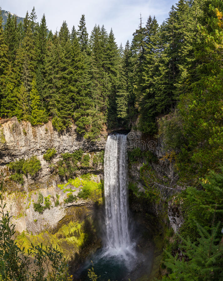 Long exposure of Brandywine falls in Whistler, British Columbia. Brandywine Falls Provincial Park in Whistler, British Columbia, viewed from the edge at the top stock photo