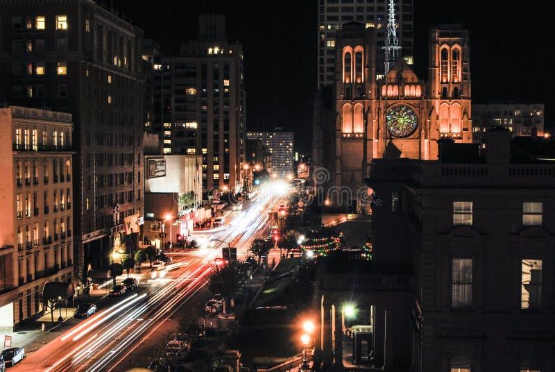 Long exposure of California Street in San Francisco at night royalty free stock image