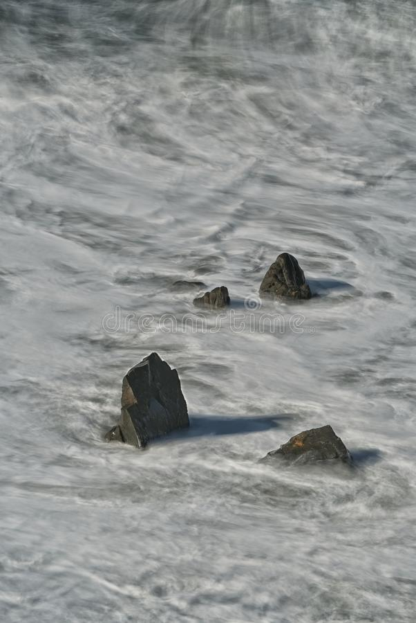 Long exposure, rocks in the Atlantic, Hartland Quay, Devon. royalty free stock photos