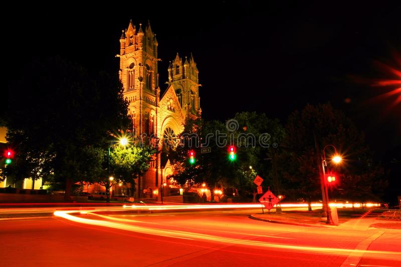 Long exposure of a church in downtown Salt Lake City Utah. This is a long exposure done of an old Church near down town Salt Lake City Utah royalty free stock images