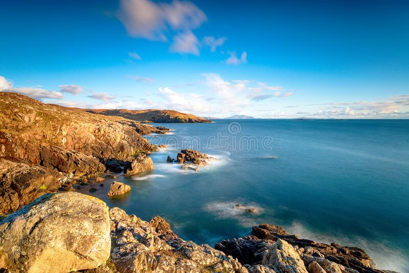 A long exposure from the clifftops at Hushinish stock images