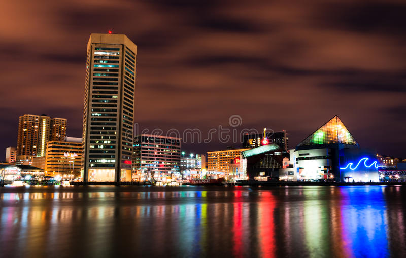 Download Long Exposure Of The Colorful Baltimore Skyline At Night. Royalty Free Stock Photography - Image: 31551867