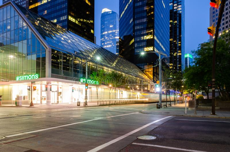 Long exposure of a CTrain on 7th Avenue stock photos