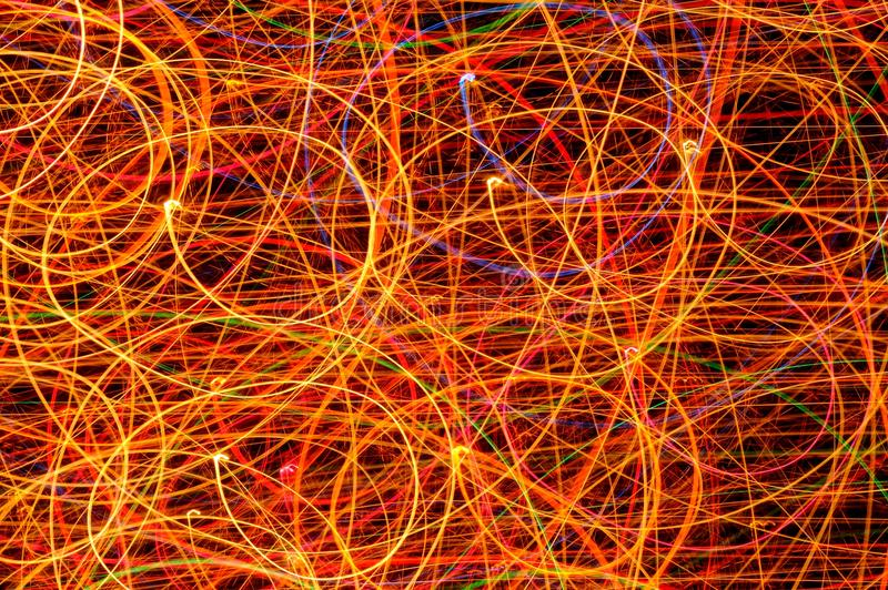 Long Exposure Curved Lines from Light Garland stock photography