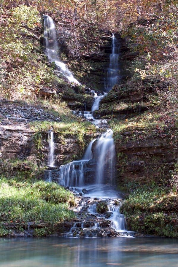 Long exposure Dogwood Canyon Waterfall. Lampe Missouri, Dogwood Canyon Trail Waterfall royalty free stock image