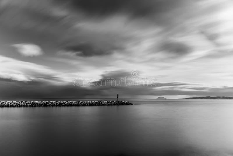 Long exposure of Estepona Port, Spain, at sunset. stock photos