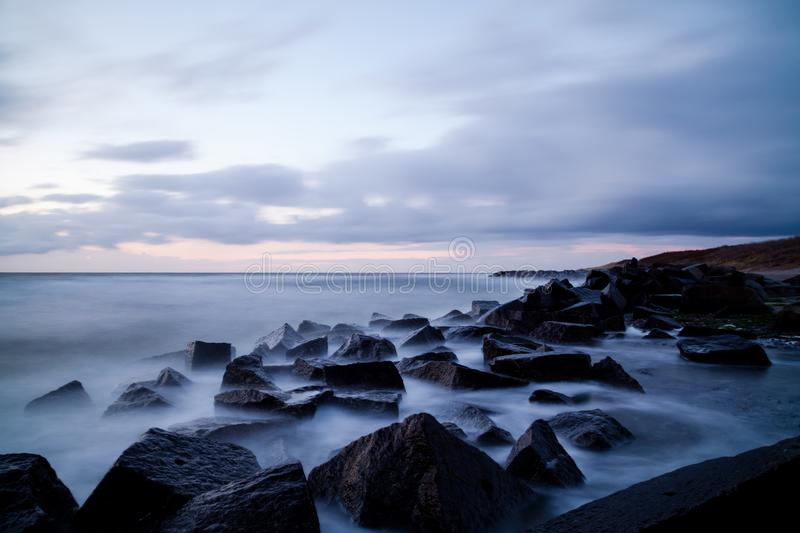 Dusk On Hiddensee. Long exposure of a evening scene on the Hiddensee beach royalty free stock image