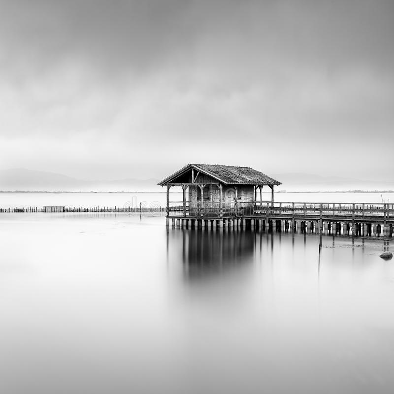 A fisherman`s Hut in Missolonghi lagoon stock images