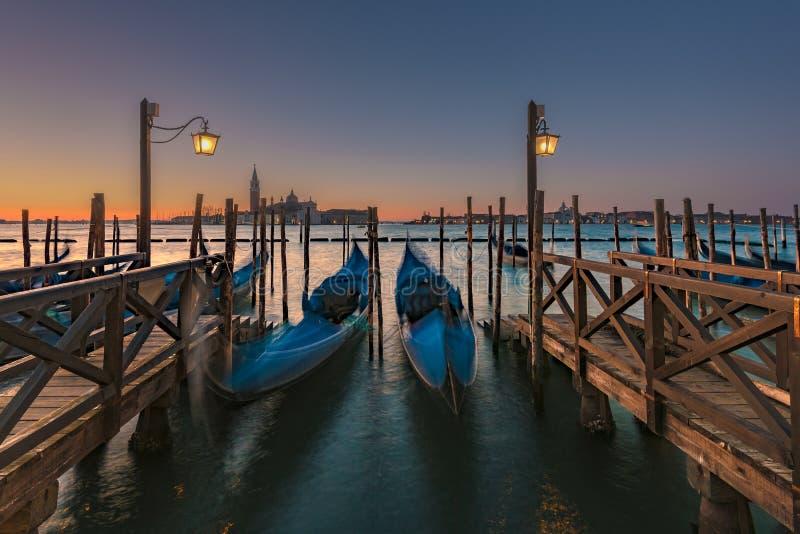 Long exposure Gondolas in Venice royalty free stock images