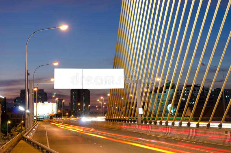 Long exposure image of cars rushing over a highway royalty free stock photography