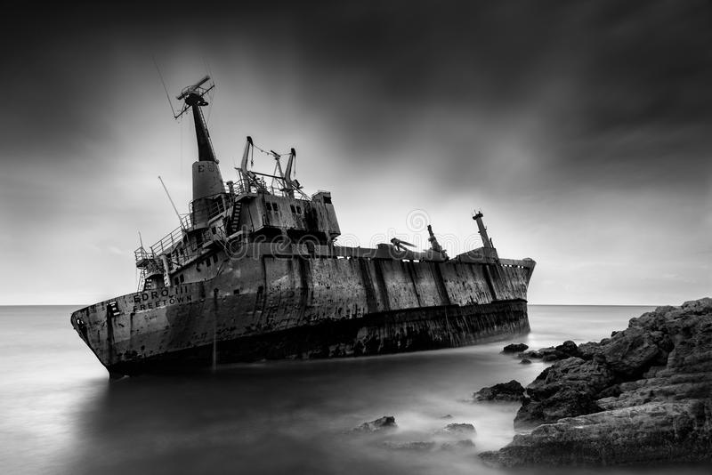 Long exposure image of a shipwreck stock photo