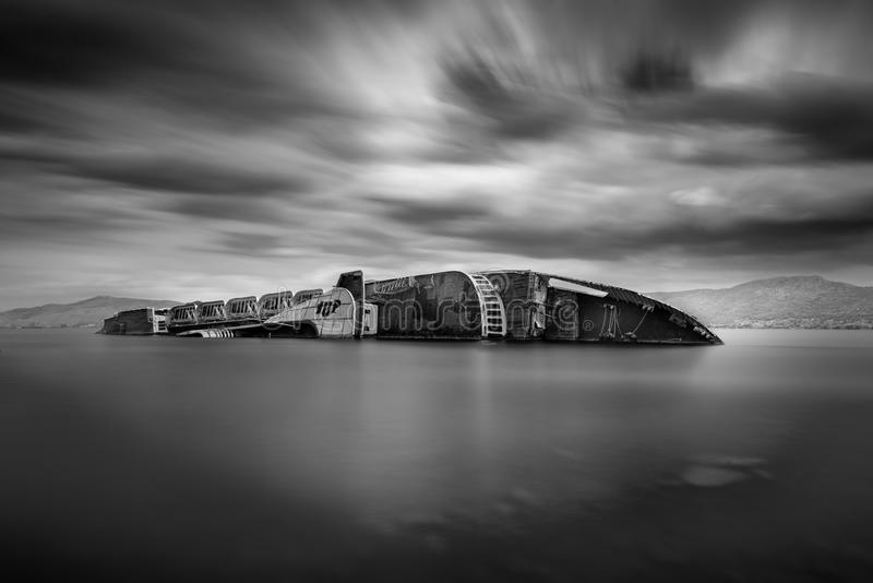 Long exposure image of a shipwreck royalty free stock photography