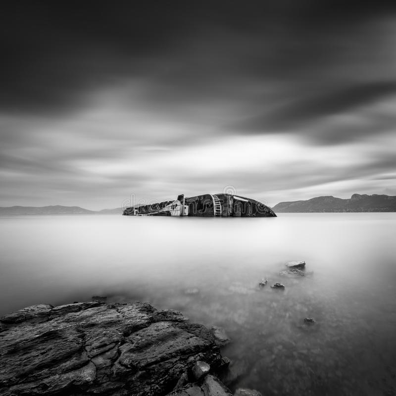 Long exposure image of a shipwreck royalty free stock photo