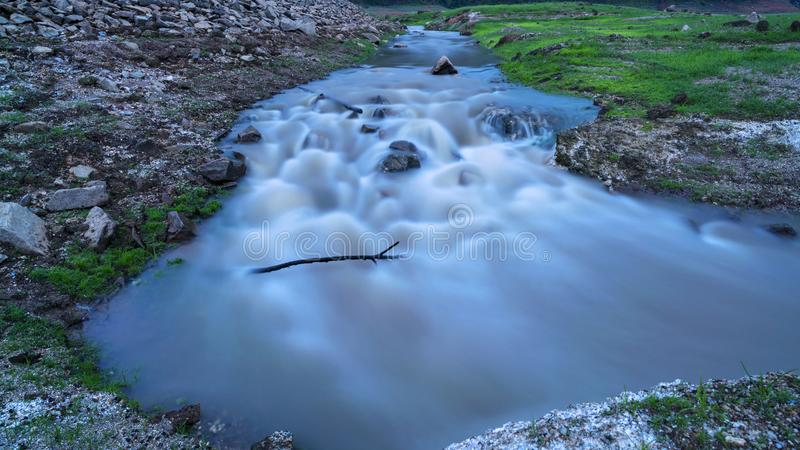 Long exposure image of water in the river stock images