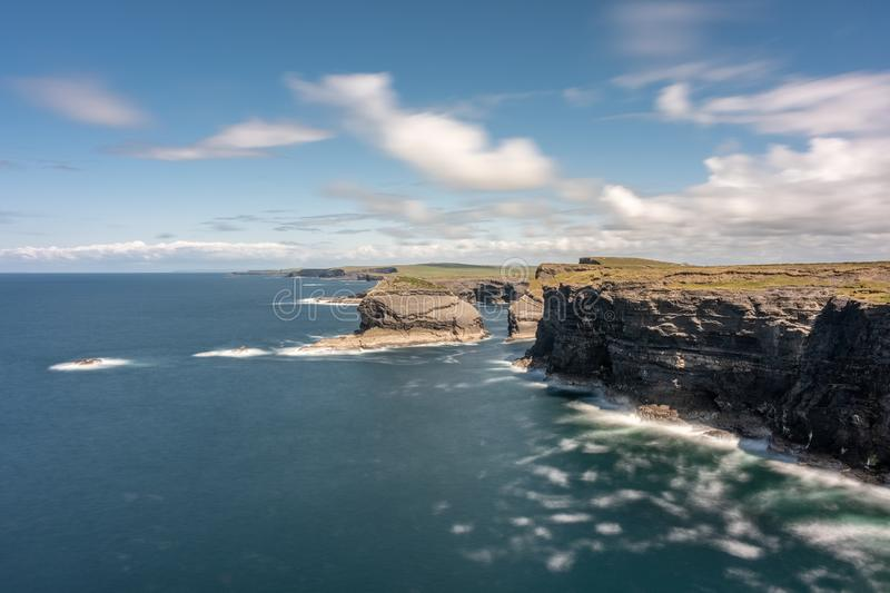 Kilkee cliffs and stacks on west coast of Ireland stock photography