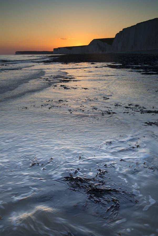 Download Long Exposure Landscape Rocky Shoreline At Sunset Stock Photo - Image: 31529578