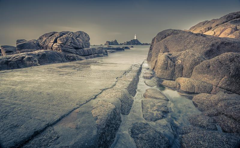 Long Exposure Lighthouse Sea View stock image