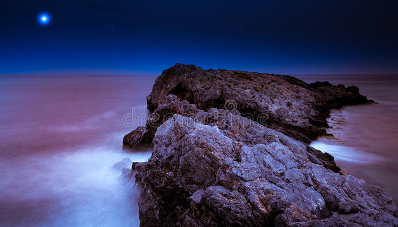 Long exposure on a magic night stock photography