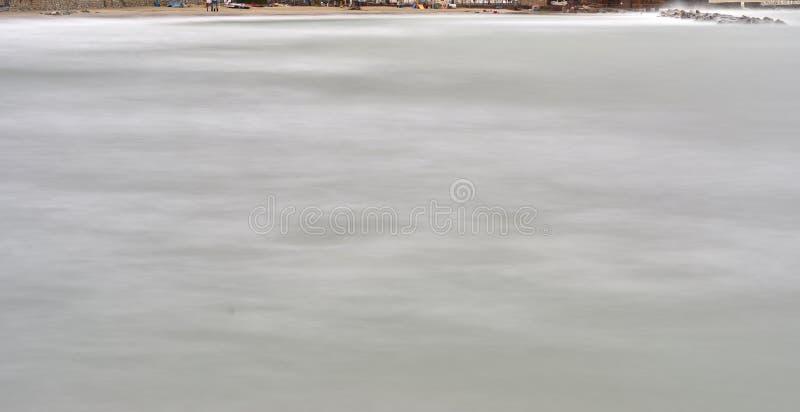 Long exposure of meditteranean sea. In la mspezia gulf stock photo