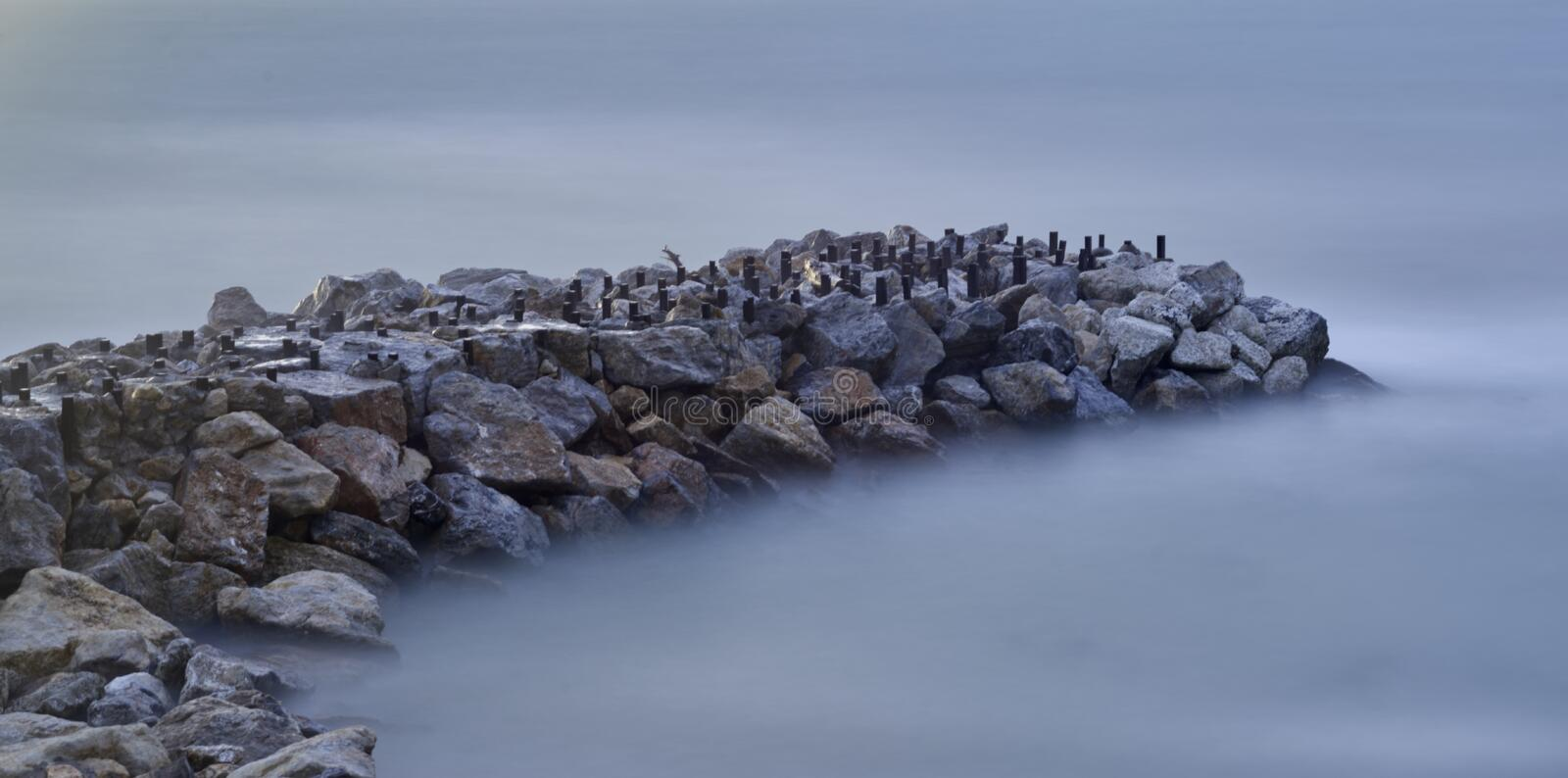 Long exposure of meditteranean sea. In la mspezia gulf royalty free stock images