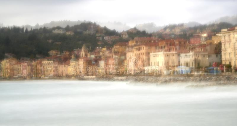Long exposure of meditteranean sea. In la spezia gulf in front san terenzo stock photography