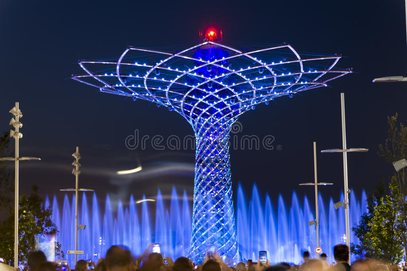 Long exposure night photo of the beautiful light and water show from the Tree of Life. (Albero della vita in Italian), the symbol of Expo 2015 area royalty free stock images