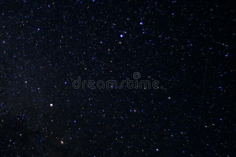 Long exposure night photo. A lot of stars with constellations. Far from the city. stock images