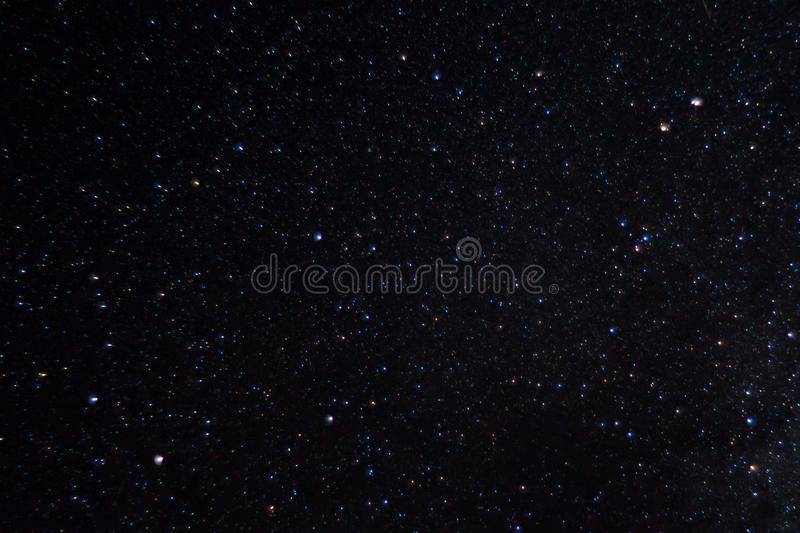 Long exposure night photo. A lot of stars with constellations. Far from the city. stock photo