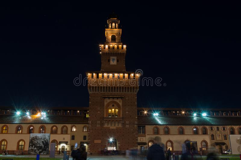 Long exposure night Sforza Castle in Milan royalty free stock photography