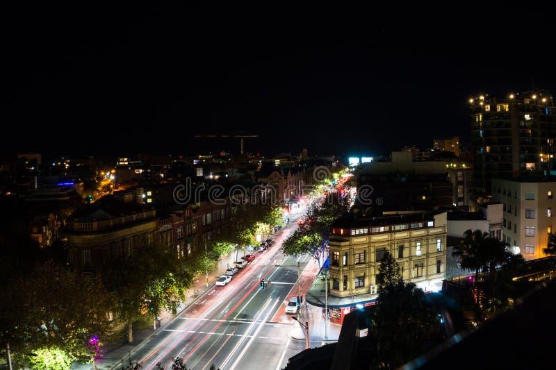 Long exposure night shot of city center of Sydney royalty free stock photo