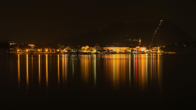A long exposure night time shot of the light reflections stock photography