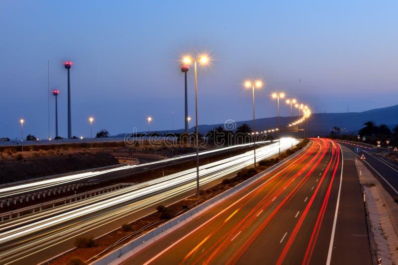 Long exposure night traffic stock photos