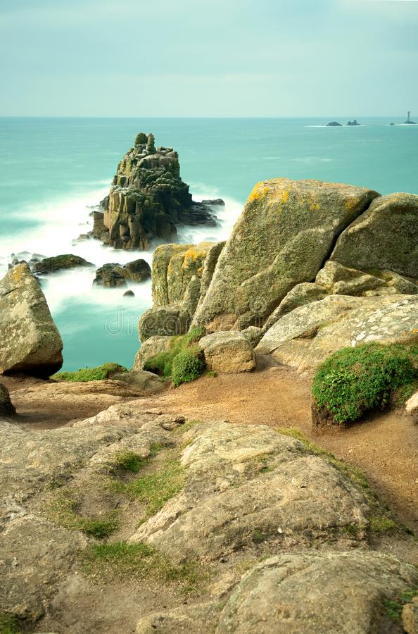 Long exposure of the Armed Knight, Land`s End, Cornwall. stock photo