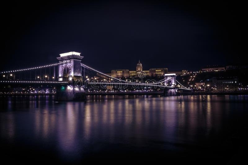 Buda Palace above the Chain Bridge. Long exposure photo of Buda Palace above the Chain Bridge, Budapest, Hungary stock image