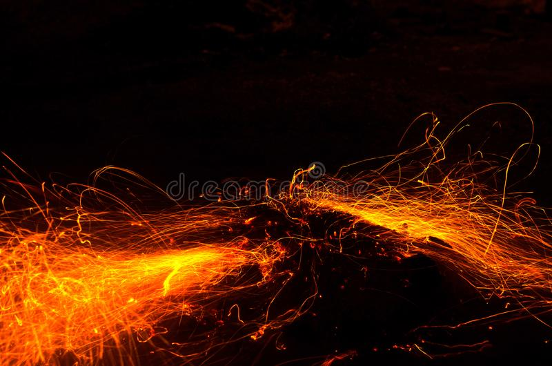 Long exposure photo of fire sparkles royalty free stock photography