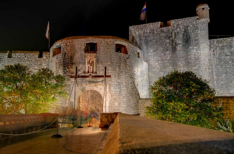 Long exposure photo of the front of the main gate of the wall of the walled city of Dubrovnik. On the shores of the Adriatic Sea of Croatia stock photo