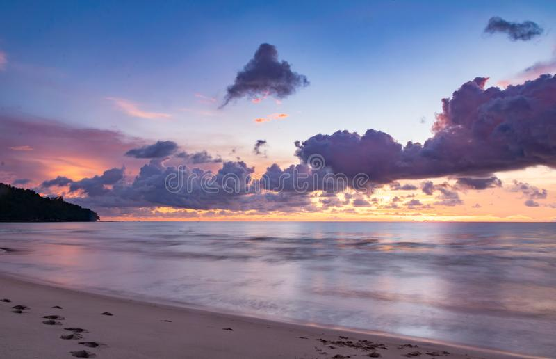 Long exposure photo of ocean in a beach north of Borneo. Island, Malaysia stock photography