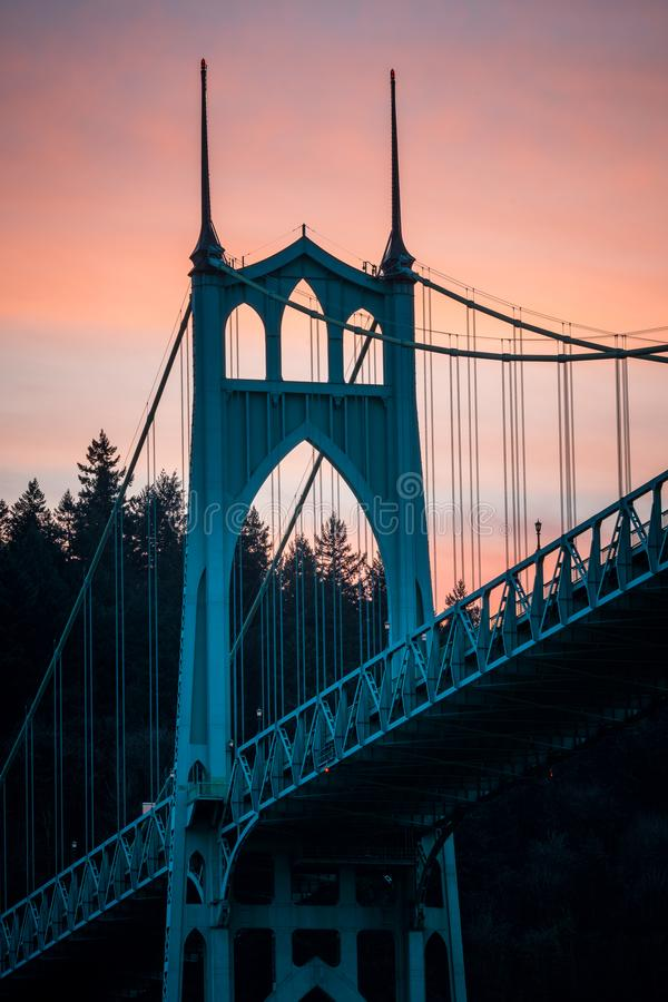 St Johns Bridge Long Exposure Portland Oregon. A long exposure photo of the St Johns Bridge in Portland Oregon at sunset stock photos