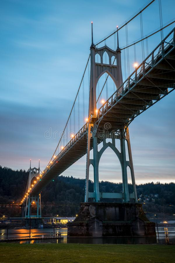 St Johns Bridge Long Exposure Portland Oregon. A long exposure photo of the St Johns Bridge in Portland Oregon at sunset stock photography